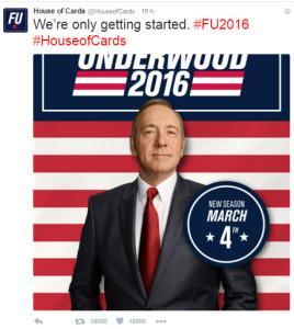Uno dei manifesti elettorali a supporto di Frank Underwood