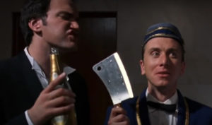 Quentin Tarantino e Tim Roth nell'episodio 'L'uomo di Hollywood' di 'Four Rooms'
