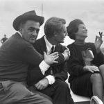 Sophia Loren in visita sul set di '8 1/2' con Federico Fellini e Marcello Mastroianni