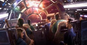 Un artwork che illustra l'interno del Millennium Falcon con i turisti